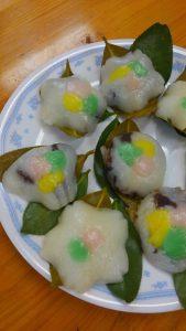 娘2人と松江の雛菓子・花もちを習いに行く♪